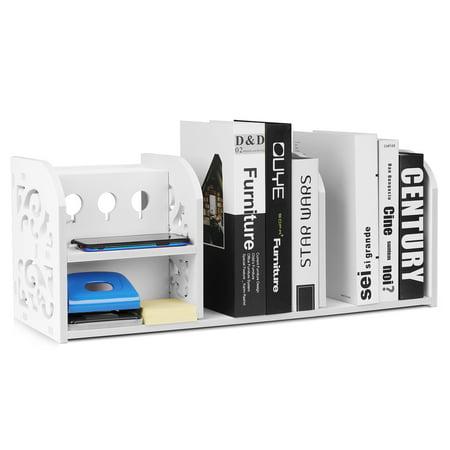 Accessories Rack Stand - Desktop Shelf Organizer Office Storage Rack for Office, School Desk Accessories & Workspace Organizer Platform Stand Display Shelf (White)