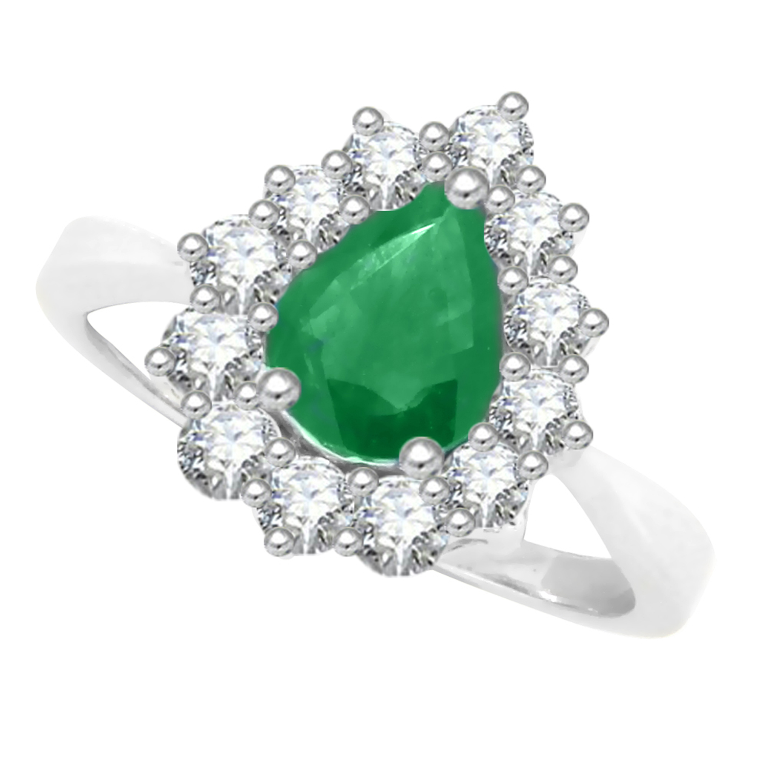 Mytreasurez 1.66 ct. Pear Shaped Genuine Emerald and 0.62...