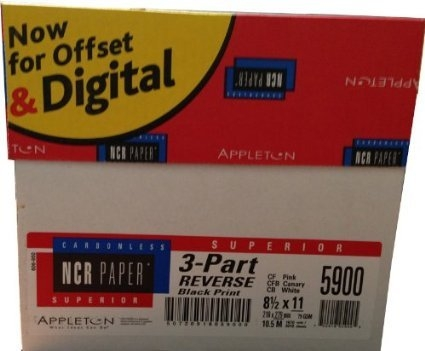 1670 Sets, 8.5 x 11 Pre Collated Carbonless Paper 3 Part Reverse (White, Canary, Pink) NCR5900 by Ncr