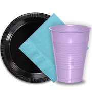 """50 Black Plastic Plates (9""""), 50 Lavender Plastic Cups (12 oz.), and 50 Light Blue Paper Napkins, Dazzelling Colored Disposable Party Supplies Tableware Set for Fifty Guests."""