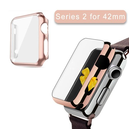Apple Watch Series 2 Case 42Mm Iclover Full Cover Apple Watch Series 2 Nike Case Slim Hard Pc Plated Protective Bumper Cover   0 2Mm Shockproof Screen Protector For Iwatch 2016  Rose Gold