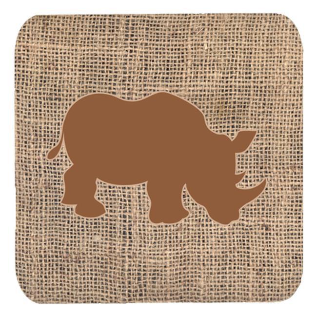 Rhinoceros Burlap And Brown Foam Coasters, Set Of 4 - image 1 de 1