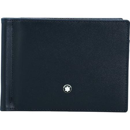 Mont Blanc Meisterstuck Wallet - Montblanc Men's Meisterstuck Money Clip Small Leather Wallet - Blue