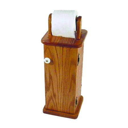 Furniture Barn USA™ Oak Free Standing Toilet Paper Cabinet / Holder ()