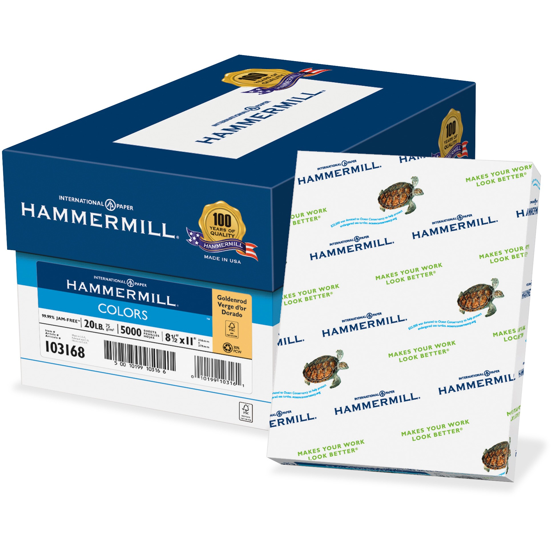Hammermill, HAM102160, Recycled Colored Paper, 500 / Ream, Goldenrod