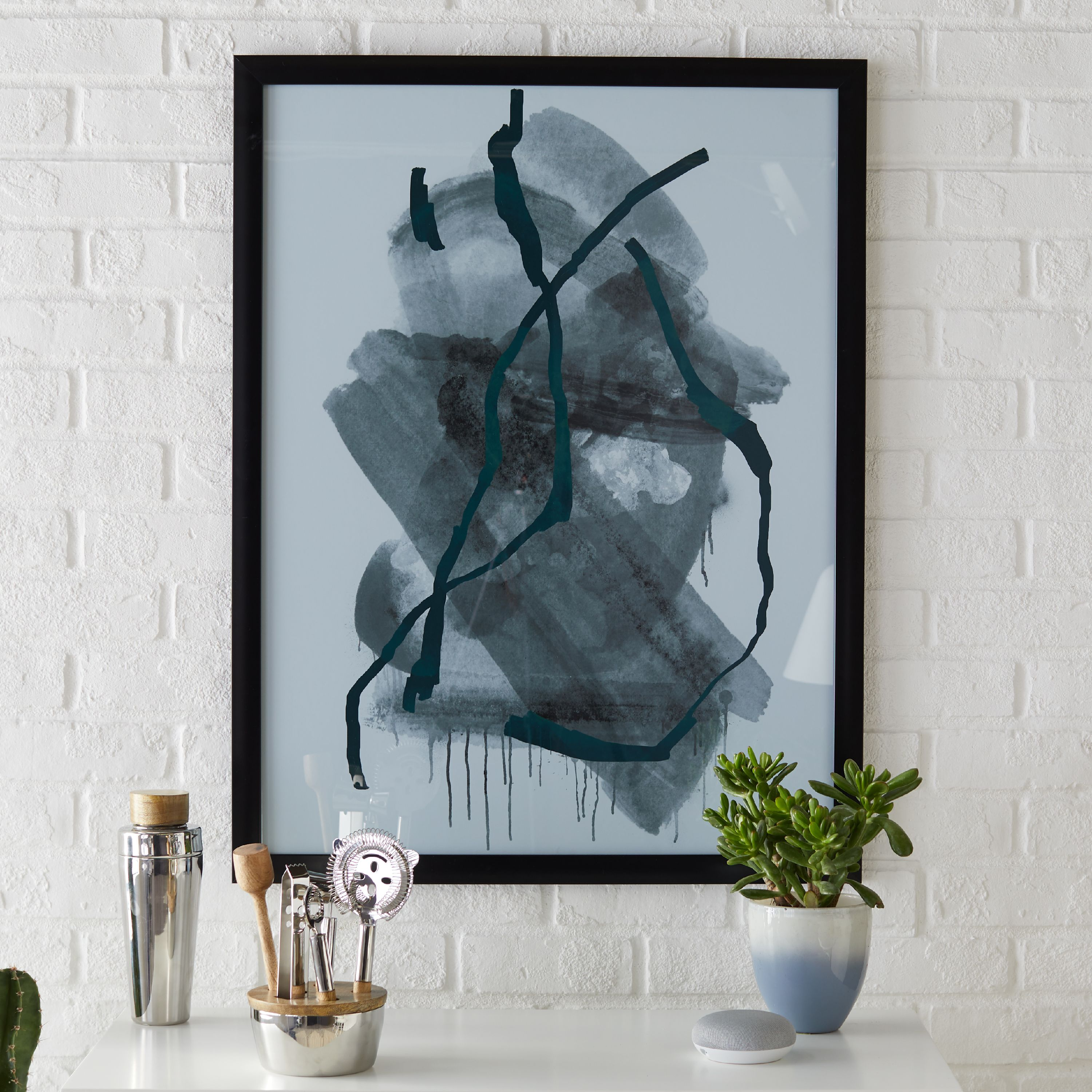 MoDRN Scandinavian Splattered Brush Strokes Wall Art