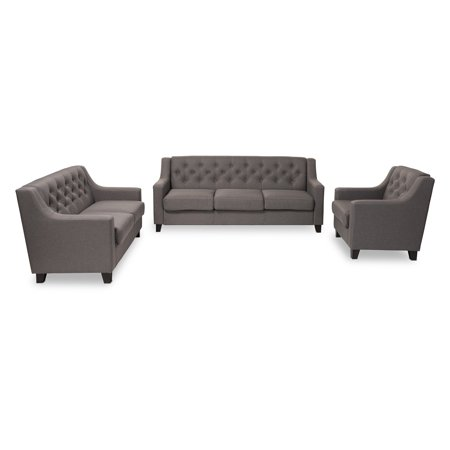 Baxton Studio Arcadia Modern and Contemporary Fabric Upholstered Button-Tufted 3-Piece Living Room Sofa Set, Multiple Colors Contemporary Living Room Set