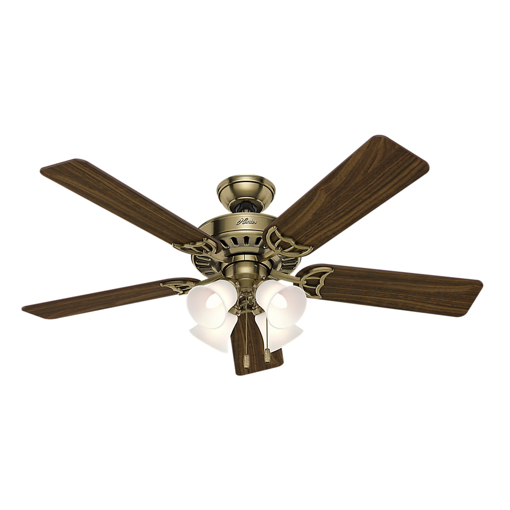 Hunter 52 Quot Studio Series Antique Brass Ceiling Fan With