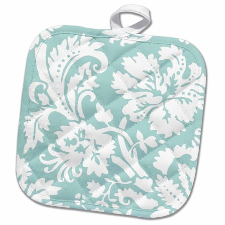 3dRose Mint damask large print design - modern stylish flowers and leaves - pastel turqoise aqua teal blue - Pot Holder, 8 by 8-inch