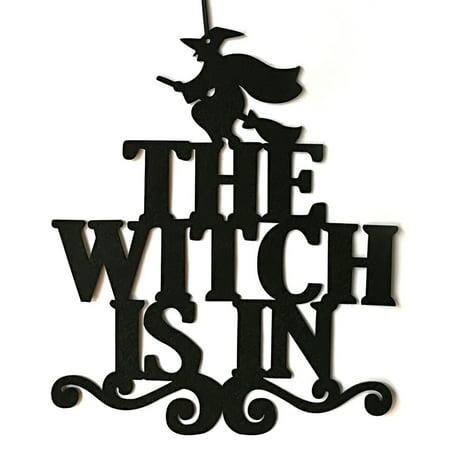 Halloween Door Hanging Crafts (Fancyleo The Witch Is In Halloween Party Non-Woven Hanging Wall Door Home)