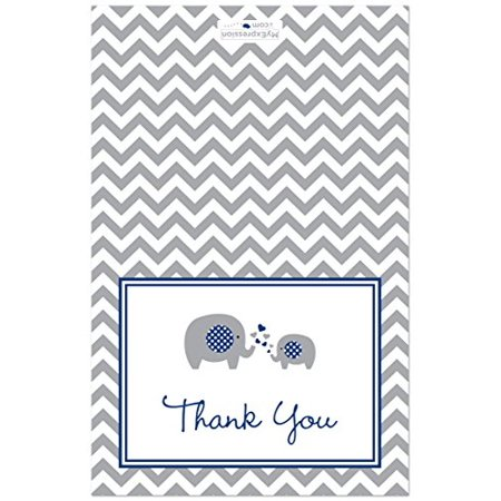 50 Cnt Navy Chevron Elephant Baby Thank You Cards - image 2 of 3