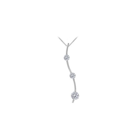 Three Stone CZ Journey Pendant in 14K White Gold 0.33 ct.TW - image 2 of 2