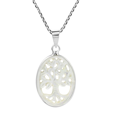 Thriving Tree of Life Carved Mother of Pearl Shell .925 Sterling Silver Pendant Necklace Vintage Carved Mother Of Pearl