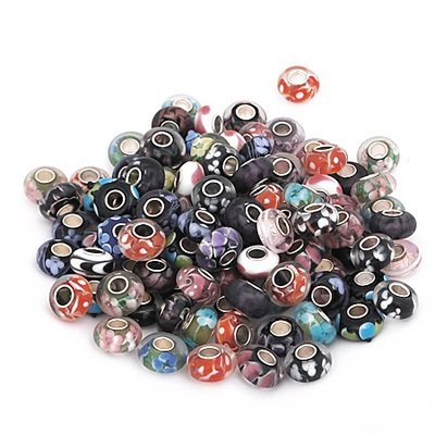 (10) Ten Assorted Pure Murano Glass Sterling Silver Single Core European Style Charm Beads. Compatible With Most Pandora Style Charm Bracelets.
