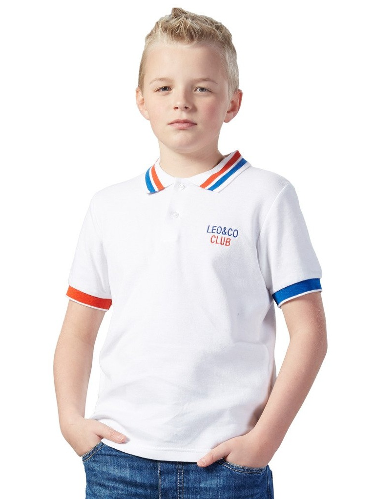 Leo&Lily Big Boys' Short Sleeve Casual Rugby White Polo Shirts