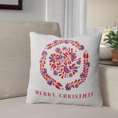 The Holiday Aisle Merry Christmas Birds Throw Pillow