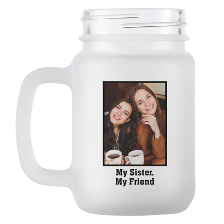 Personalized Photo Message Frosted Mason Jar - Available in 4 Colors