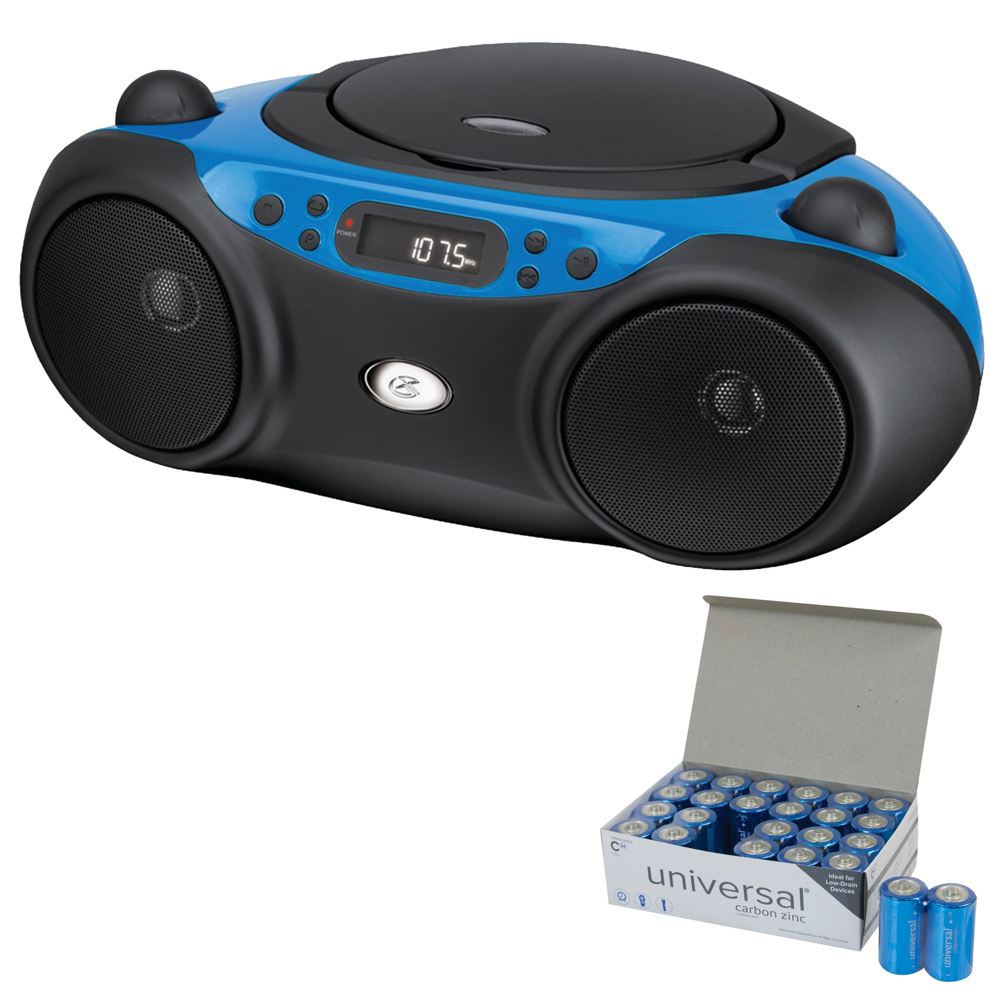 GPX BC232BU Sporty CD & Radio Boom Box (Blue) & UPG C 24 PK