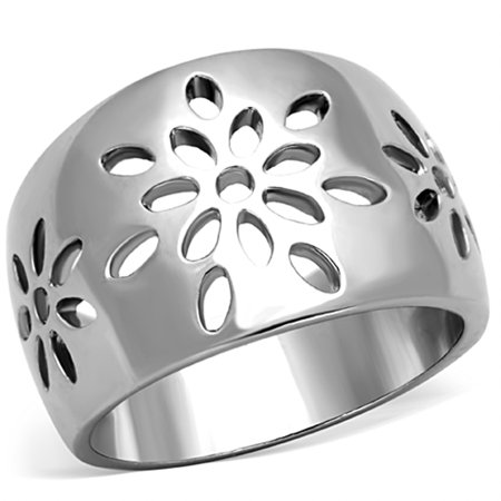 Stainless Steel 316 High Polished Flower Design Fashion Ring Women's Size 8