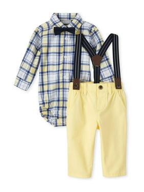 Baby Boys Long Sleeve Bodysuit Button Down Bowtie Suspender Chino 4PC Set