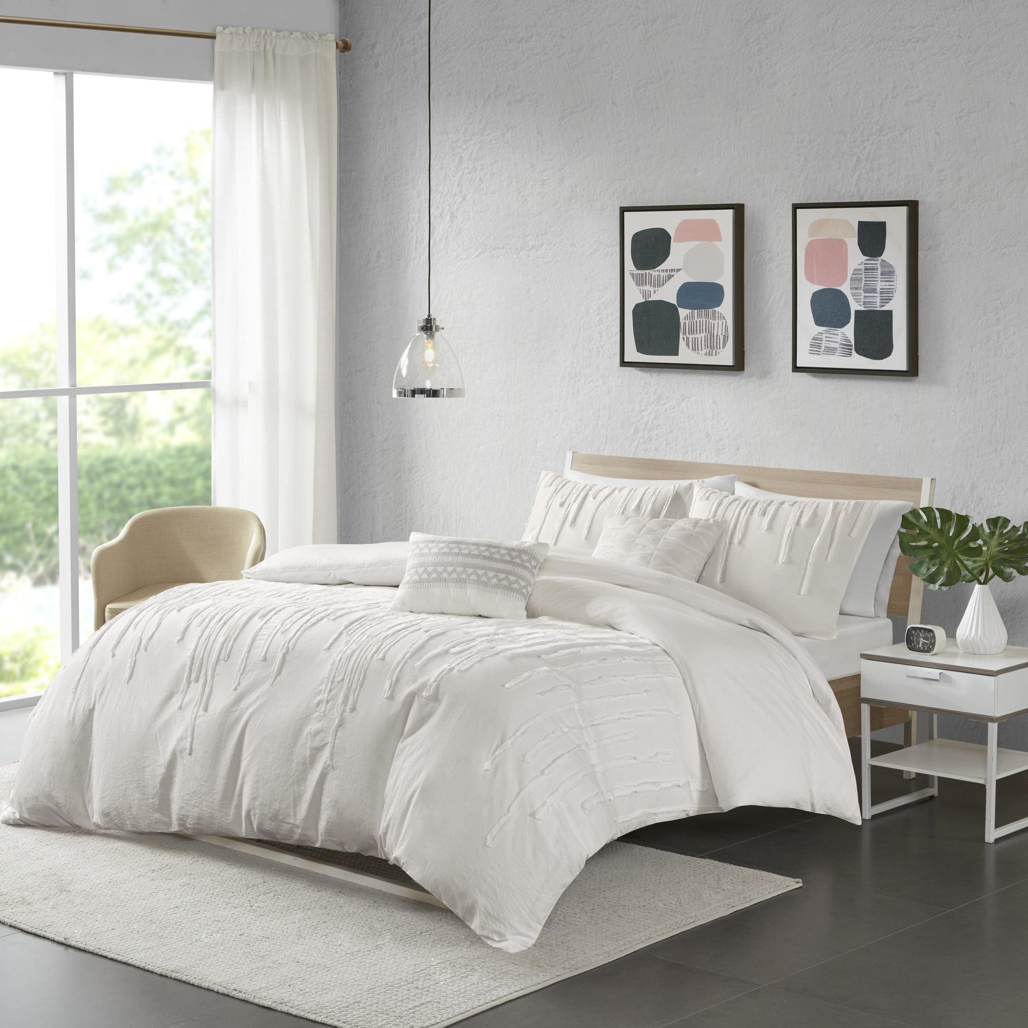 Home Essence Apartment Makenna Cotton Duvet Cover Set, King/Cal King, Ivory
