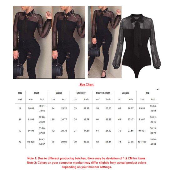 Urkutoba - Women Ladies Sheer Lace Bodysuit Sexy Leotard Long Sleeve ... 5364c10a8