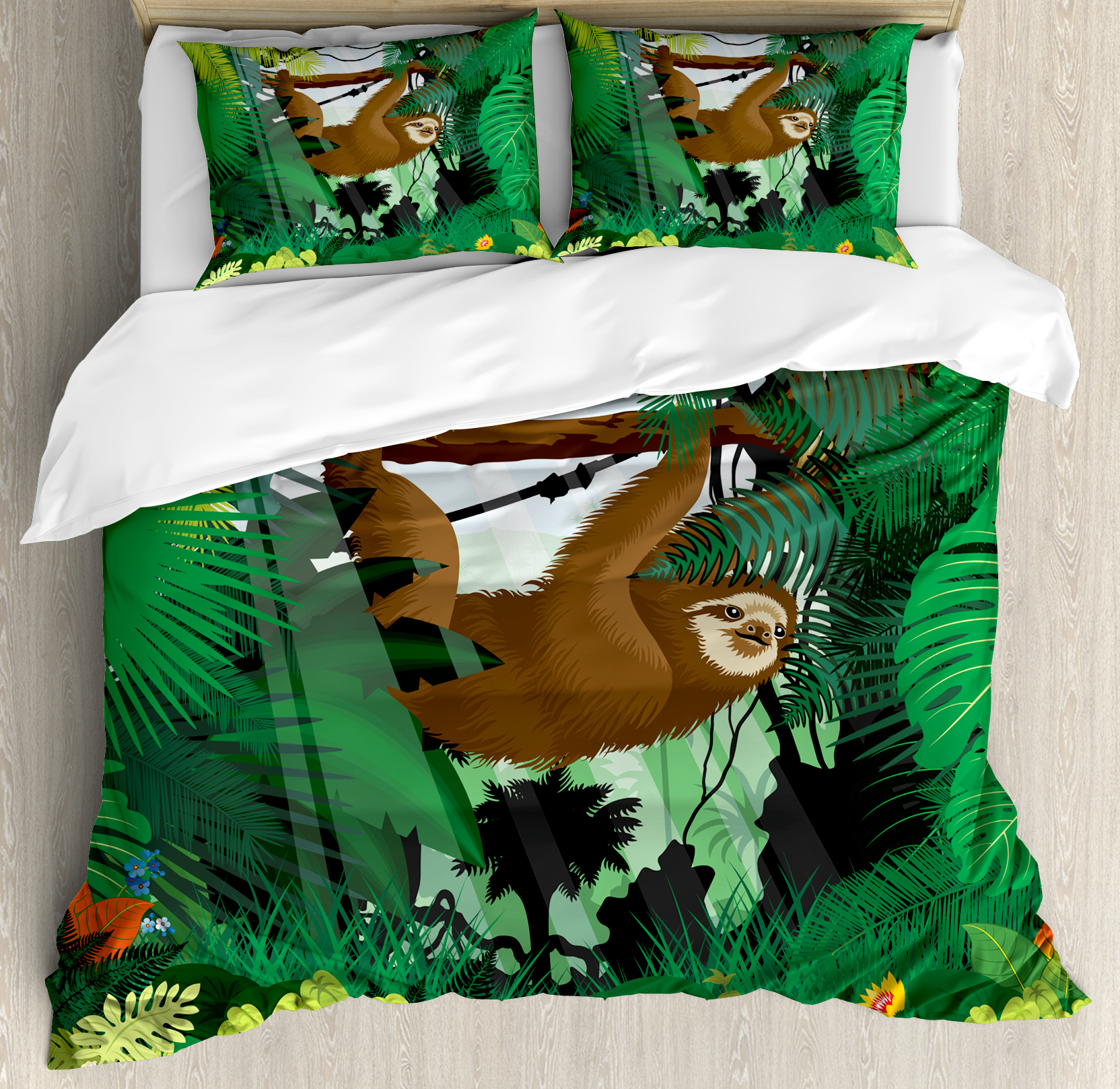Sloth Queen Size Duvet Cover Set, Vibrant Exotic Rainforest with Various Plants and Sloth Hanging on a Tree Wildlife, Decorative 3 Piece Bedding Set with 2 Pillow Shams, Green Brown, by Ambesonne nev_37873_queen