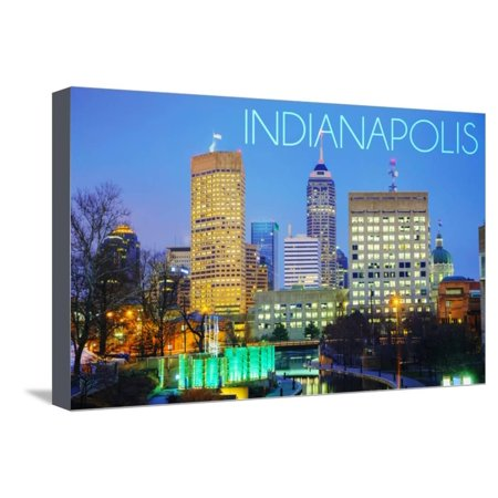 indianapolis indiana skyline at night stretched canvas print wall