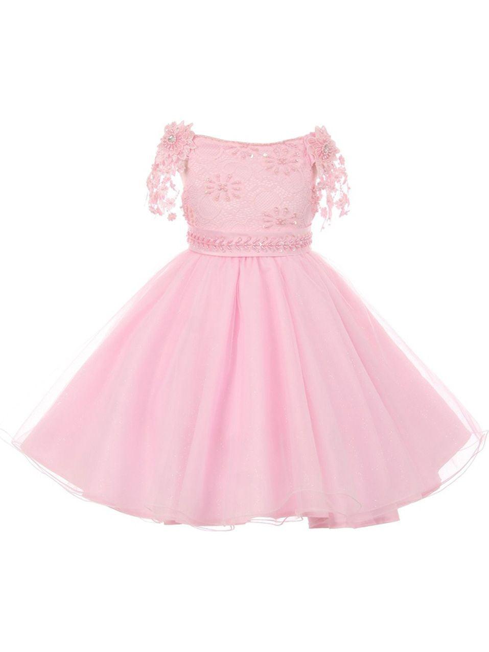 Girls Blush Pink Pearl Beaded Lace Sash Strap Junior Bridesmaid Dress