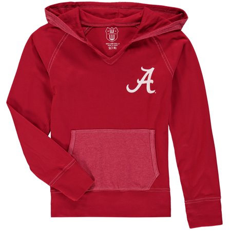 Alabama Crimson Tide Wes & Willy Girls Youth Heathered Block Pullover Hoodie - Crimson