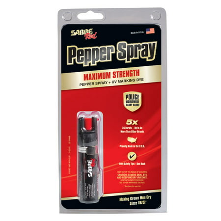 Sabre red pepper spray - police strength - compact size with clip (max protection - 35 shots, up to 5x
