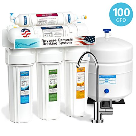 3e4779179 Express Water 5 Stage Home Drinking Reverse Osmosis Water Filtration System  100 GPD RO Membrane Filter