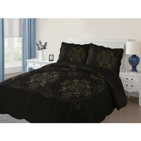 empire home diana 3pc quilted embroidered oversized medallion