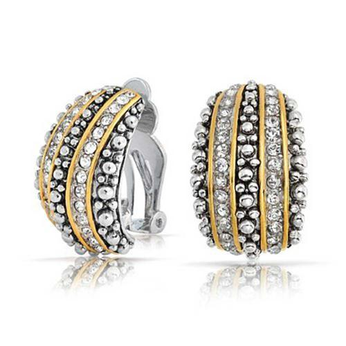 Bling Jewelry Bali Style Beaded Caviar 2 Tone Crystal Half Hoop Clip On Earrings Silver Plated