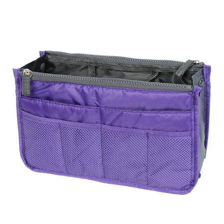Unique Bargains Zipper Women Cosmetic Bag Purse Portable Multi Pocket Organizer Storage Handbag Purple