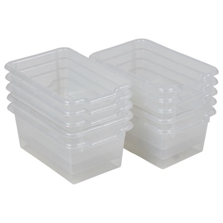 Scoop Front Storage Bins - Clear -10pk - Blue Plastic Tub