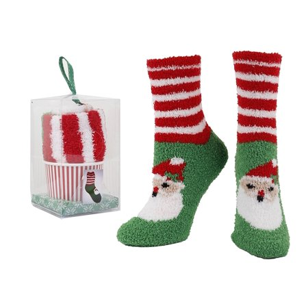 Gift Box Santa Womens Christmas Holiday Slipper Socks