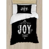 Joy Duvet Cover Set, Retro Style Phrase Joy Christmas Themed Floral Arrangement Calligraphy Ornate Design, Decorative Bedding Set with Pillow Shams, Black White, by Ambesonne