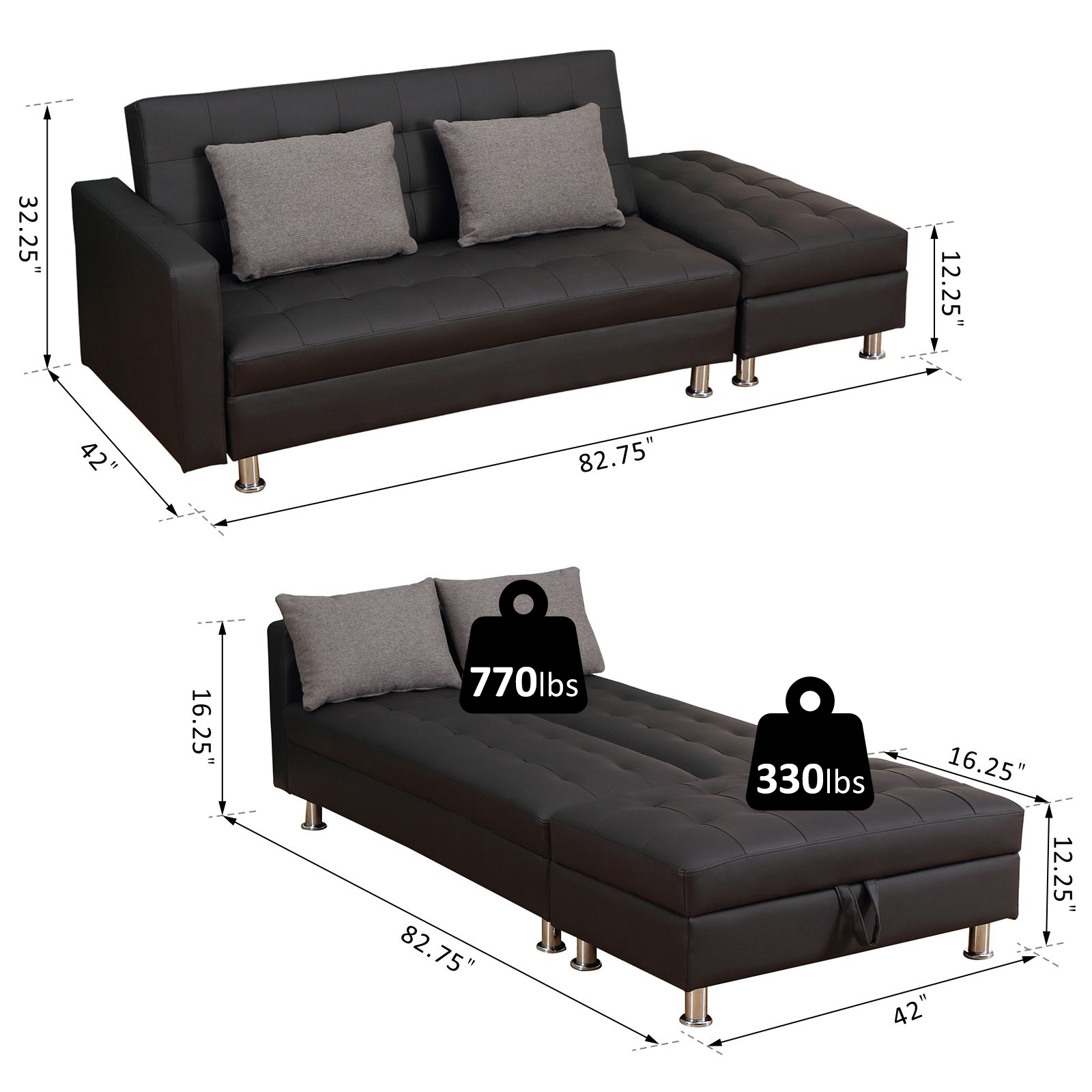 Homcom Twin Size Faux Leather Convertible Sleeper Sofa Bed With Storage Ottoman Black With Grey Pillows Walmart Com Walmart Com
