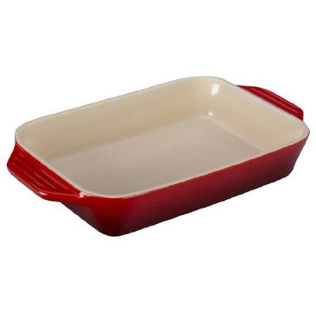 Le Creuset Stoneware Rectangular Dish 10.5 by 7-Inch Cerise (Cherry Red)