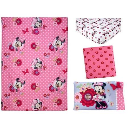 Disney Minnie Mouse Flower Garden 4pc Toddler Bedding Set