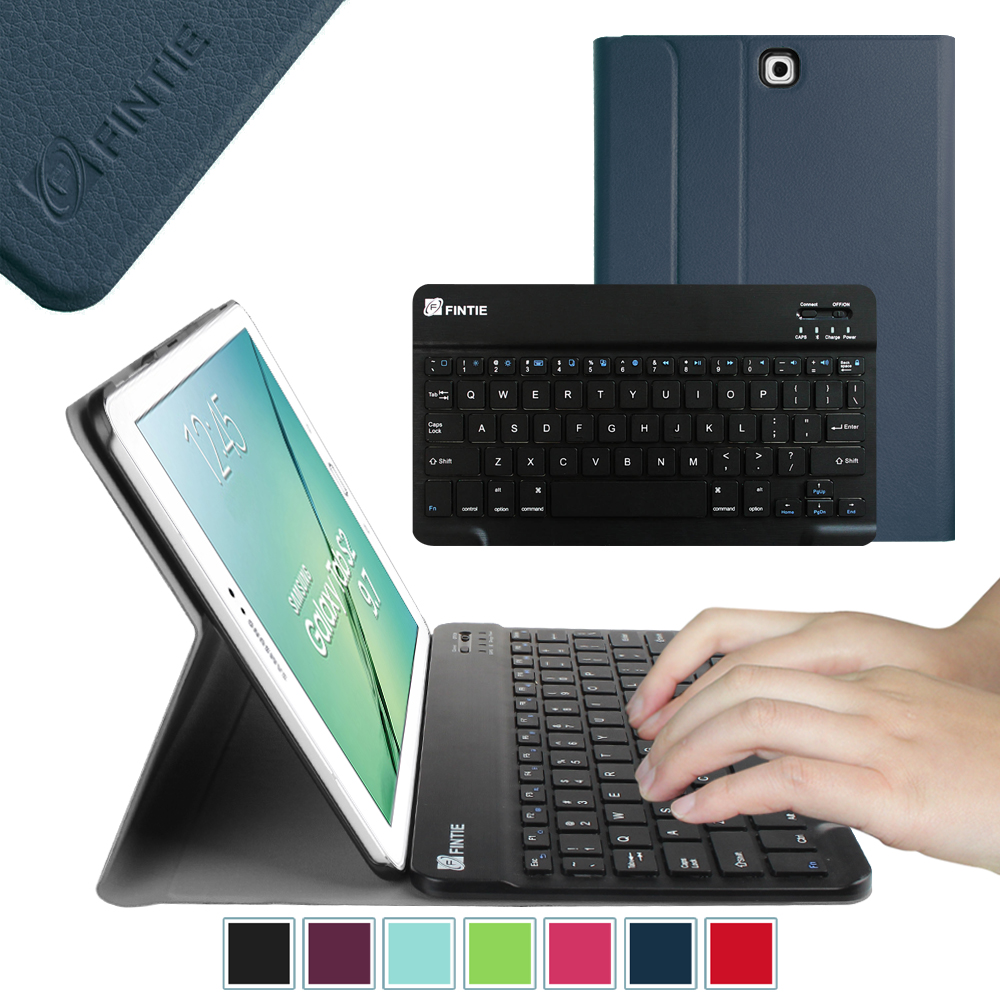sale retailer e7fd9 3cb68 Fintie Samsung Galaxy Tab S2 9.7 Tablet Keyboard Case - Smart Shell Cover  with Bluetooth Keyboard, Navy