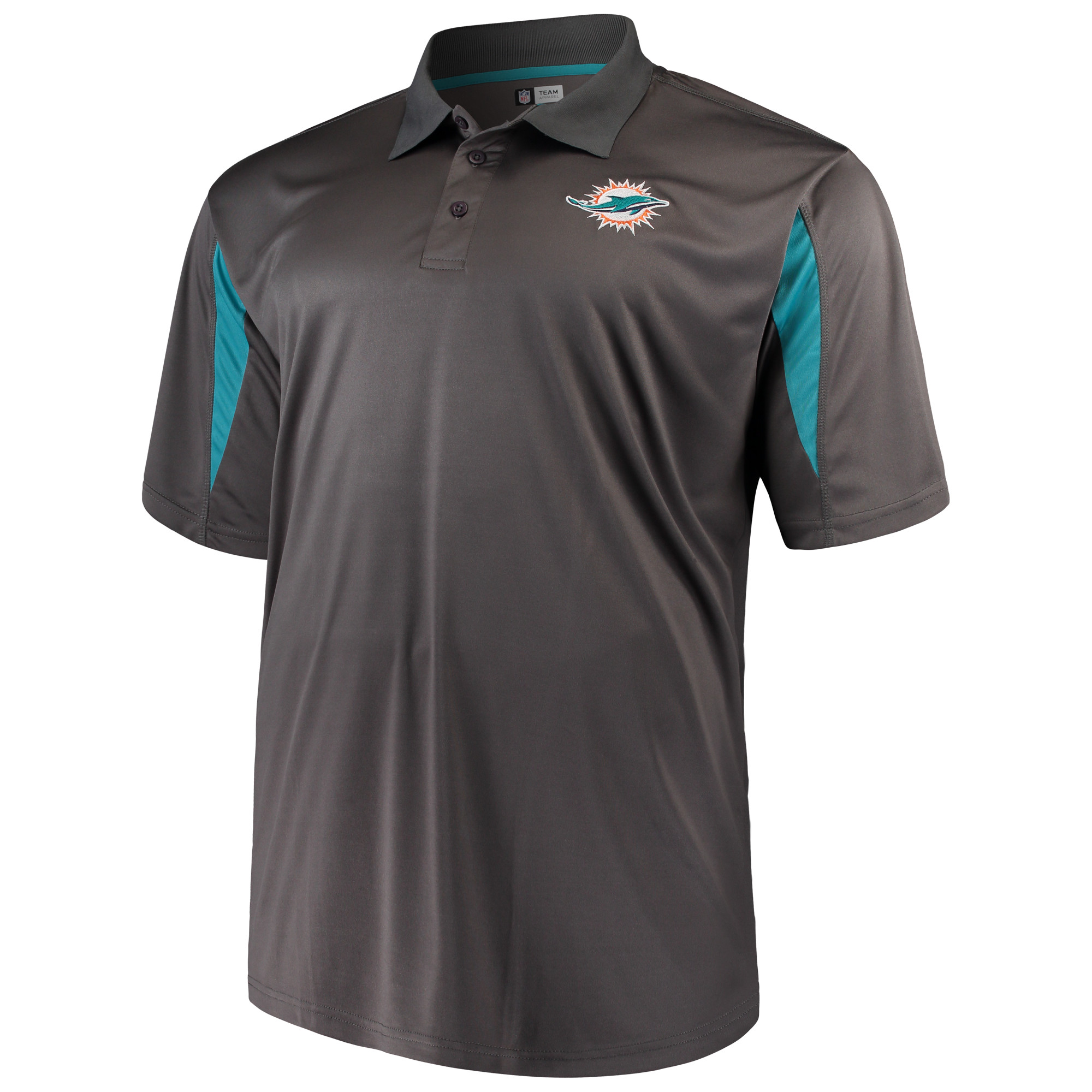Men's Majestic Charcoal Miami Dolphins Big & Tall Pieced Polo