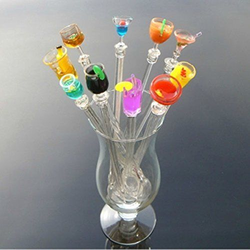 Set of 10 Plastic Cocktail Swizzle Stir Sticks Drink Stirrers Dinner Party Bar