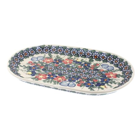 Polish Pottery Garden Butterfly Small Oval Platter Butterfly Garden Platter
