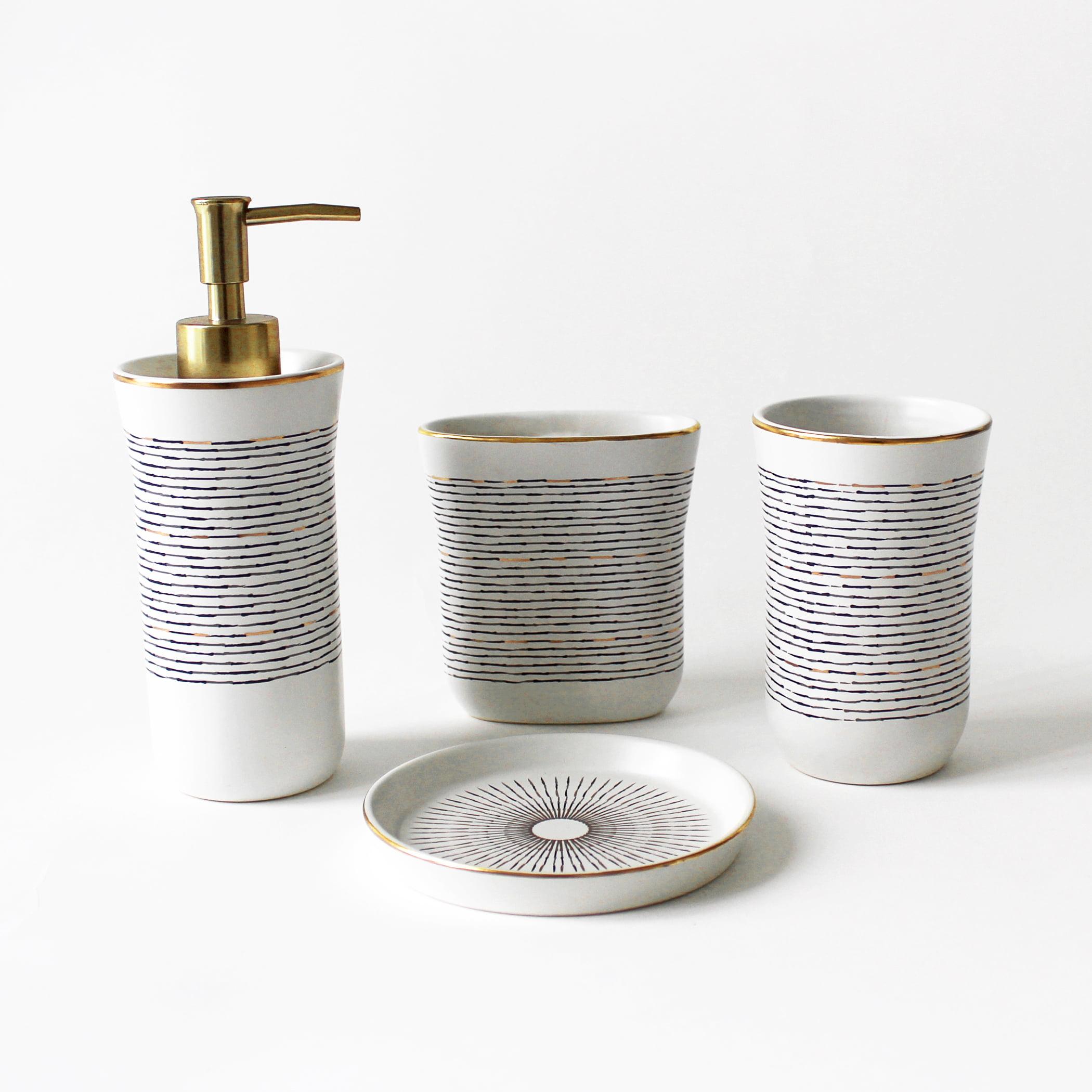Splash Home 4-Piece Bathroom Ceramic Vanity & Countertop Organizer Set: Tall Soap & Lotion Dispenser, Tumbler, Toothbrush Holder & Soap Dish