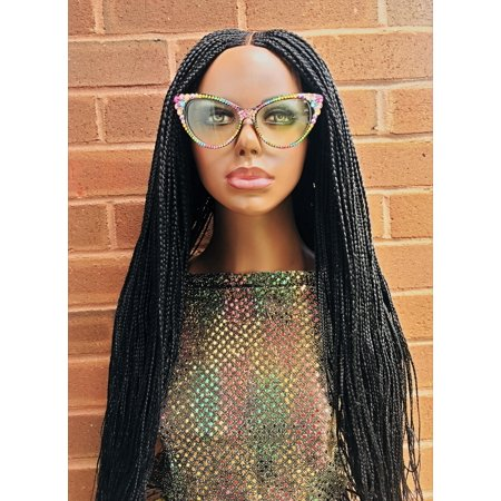 2Chique Boutique Women's Handmade Cornrow Box Braided Wig Color 1 Black, 32 Inches](Braid Wigs)