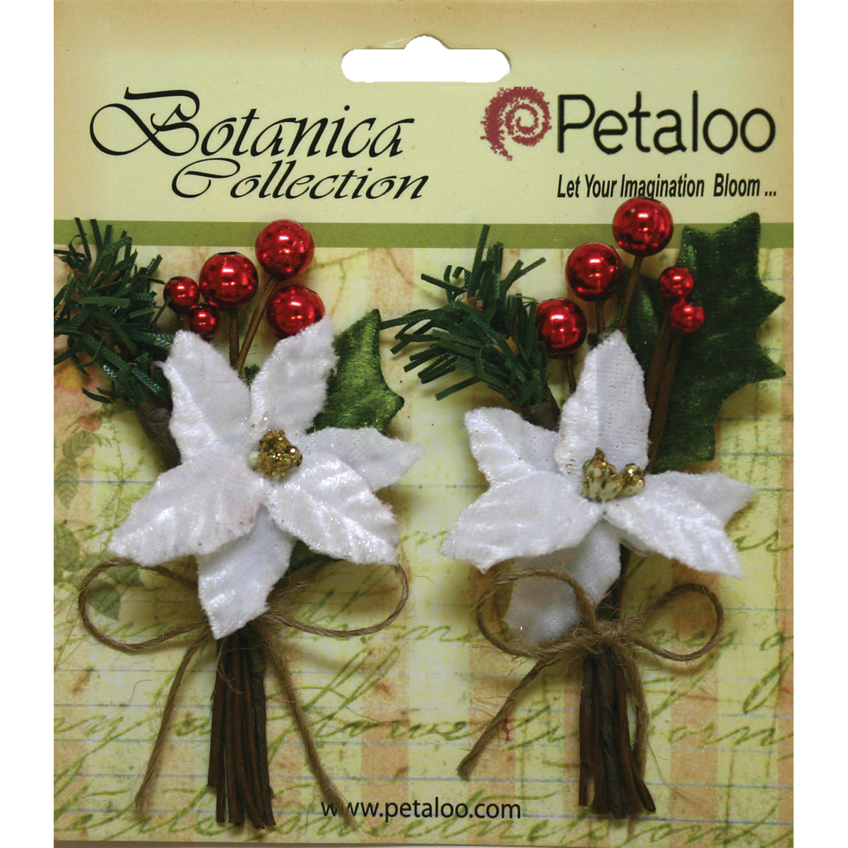 "Botanica Holiday Pine Picks 1.75""X3.5"" 2/Pkg-W/White Poinsettia & Red Berries"
