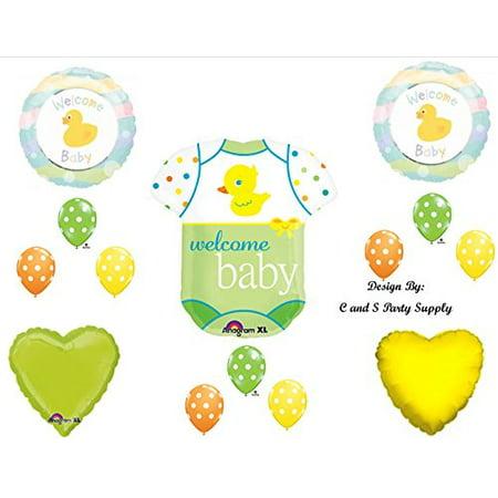 Baby Onesie with Duck Shower Balloons Decorations Supplies Ducky Bodysuit