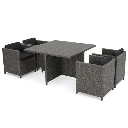 Raleigh Outdoor 5 Piece Wicker Dining Set with Cushions ()